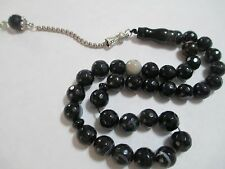 Black Stripe Agate Onyx  aqeeq akik facet PRAYER  BEADS MASBAHA TASBIH 33  عقيق