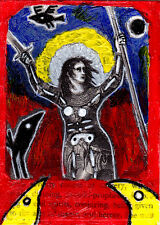 voices in her head e9Art ACEO Saint Joan of Arc Outsider Art Brut Painting OOAK