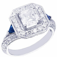 18K WHITE GOLD ASSCHER CUT DIAMOND AND TRIANGLE SAPPHIRE ENGAGEMENT RING 1.90CTW