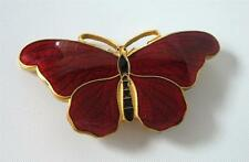 Antique Red Guilloche Enamel Butterfly Brooch Pin Art Nouveau Gilt Insect