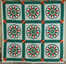 OUTSTANDING Vintage 20s Red Green & Cheddar Compass Antique Quilt ~GREAT DESIGN!