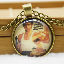 Vintage Bruce Lee Cabochon Glass Bronze Chain Pendant Necklace Jewelry