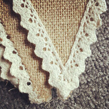 YH Vintage 2M Lace Bunting Rustic Hessian Burlap Banner Wedding Xmas Party Decor