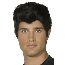 Mens Quality Danny Wig Fancy Dress Grease Slick Back Black Film Elvis Rock Roll