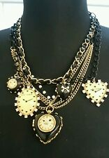 Betsey Johnson time flies vintage necklace locket hearts clocks