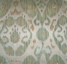 SCALAMANDRE TASHKENT IKAT CUT VELVET PILLOW QUILTER CRAFTS FABRIC REMNANT AQUA