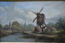 "Original Antique oil painting ""Old Water Mill"" c1860"