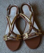 AMERICAN GLAMOUR BADGLEY MISCHKA LEATHER STRAPPY FLAT SANDALS TAN GOLD SZ 7.5 M