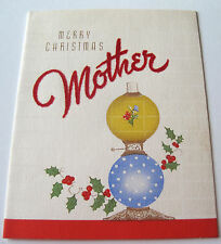 Used Vtg Christmas Card Old Fashioned Lamp with Holly & Flocked Mother Word