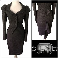 82 Warehouse Nuova 12 Vintage Tweed SELLINO anni'40 Stile Lana Tailleur Donna Marrone