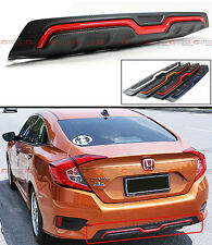 For 2016-17 Honda Civic 4d Sedan Carbon Texture Rear Bumper Diffuser Red Accent
