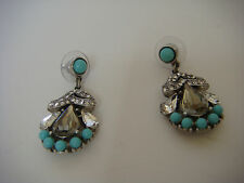 BEN AMUN Turquoise Swarovski Crystal Drop Earrings