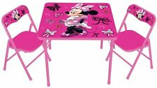Kids Study Table And Chair Set Girls Disney Minnie Activity Play Toddler Seat