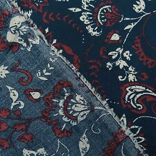 Floral Print Decorative Indian Rayon Fabric Sewing Material By The Yard