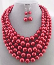 Chunky Layered Red Pearl Necklace Set Silver Fashion Jewelry NEW