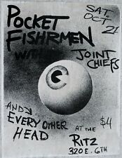 POCKET FISHERMAN + EVERY OTHER HEAD 1980S  RITZ AUSTIN ORIGINAL Poster PUNK RARE