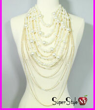 Layered Multi Strand Chunky String Pearl Ball Long Statement Ball Necklace Chain