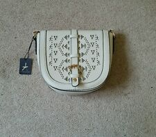 Atmosphere cream aztec messenger handbag tribal gold black trim bnwt small