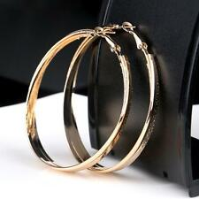 Shine 1 Pair WomenAA 18K Gold Plated Big Round Fashion Stud Hoop Earrings