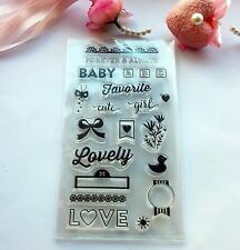 New Clear Rubber Stamp Set Scrapbook Card Making Baby Girl Love Cute Duck CS126