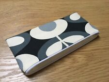 HANDMADE PENCIL MAKE UP GLASSES CASE - ORLA KIELY COOL GREY OVAL FLOWER FABRIC