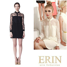 RUNWAY  ERIN  FETHERSTON  LACE  OVERLAY  SILK  SHIRT  DRESS   Sz 4  NWT  $ 540