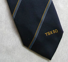 COMPANY LOGO TIE VINTAGE RETRO TSX 50 CREST CLUB ASSOCIATION 1980s 1990s NAVY