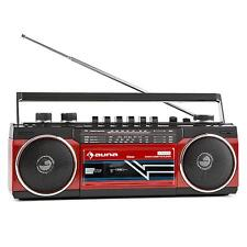 AUNA RETRO BOOMBOX PORTABLE CASSETTE MUSIC PLAYBACK RADIO STEREO SYSTEM HIFI RED