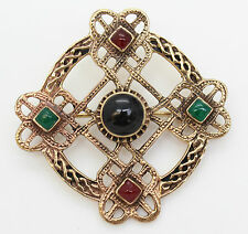 IRISH BRONZE CELTIC BROOCH PIN WITH RED, GREEN AND BLACK STONES, celtic cross