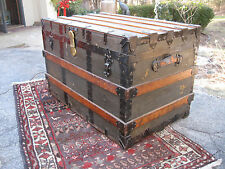 Antique Original Canvas Oak Wood Slat Flat Top Travel Steamer Trunk Coffee Table