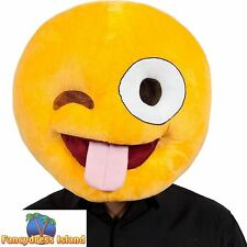YELLOW CRAZY FACE EMOTICON EMOJI HEAD MASK adult ladies mens fancy dress costume