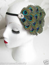 Real Peacock Feather Fascinator Headband Headpiece Races Ascot Art Deco Vtg j61