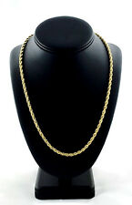 """Ion Plated Yellow Gold Stainless Steel Rope Chain Necklace (4.0 mm,23.4 g, 24"""")"""