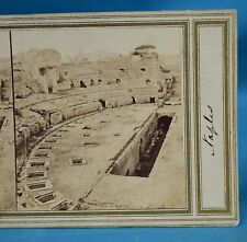 1860s Italy Stereoview Photo Amphitheatre Di Pozzuoli Early Manuscript Title