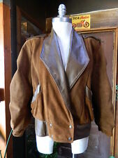 "CUBA 5'4"" Petites Tan Brown Soft Suede Leather Jacket Padded Lined VTG 80-90's S"