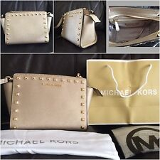 BNWT Michael Kors Selma CON BORCHIE ORO Medium Borsa Messenger Crossbody