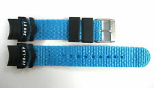 FREESTYLE 14MM BLACK/BRIGHT BLUE NYLON/RUBBER WATERPROOF WATCH BAND STRAP