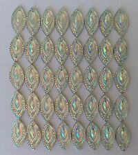 50 pcs x Sew On 9x18 mm Resin Rhinestones Clear AB Color Navette Shape