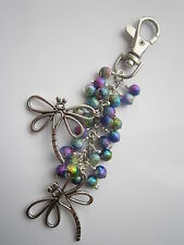 Keyring / Bag Charm - Tibetan Silver Dragonflies & Multicoloured Stardust Beads