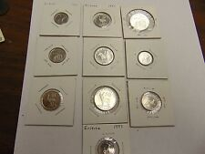 COIN SET OF 10 DIFFERENT FROM ERITREA 199110 CENTS 5 CENTS 50  CENTS 1997