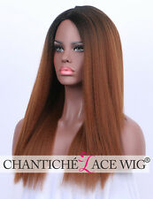 Italian Yaki Ombre Auburn Synthetic Hair Wig Long None Lace Full Wigs Heat Safe