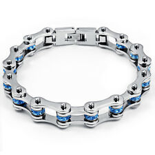 Women Blue Crystals CZ Bangle Stainless Steel Motorcycle Bike Chain Bracelet