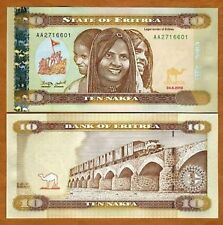 ERITREA SET OF 3 BEAUTIFUL NOTES UNC 1,5, AND 10 NAKFA
