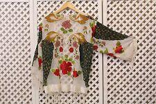 Vintage white peacock Silk velvet Devore 70s fringe long scarf jacket kimono S M