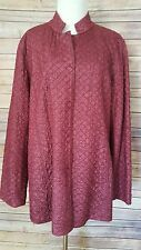 Eileen Fisher XL Burgundy Quilted Mandarin Tussah Silk Magnetic Snap Jacket
