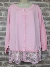 Michele Hope Baby Pink Sheer Lace Detail Cardigan Top Size 18 / 20