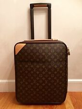LOUIS VUITTON Pegase 45 small monogram canvas pull roll suitcase w/ cover, rare