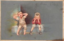 TWO BOYS SITTING ONE YAWNING THE OTHER SPITTING ARTIST DRAWN COMIC POSTCARD 1907