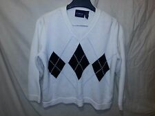 Liz Claiborne Sport Petite M Argyle V-neck Sweater White Black Diamonds NWOT