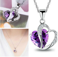 New Silver Purple Amethyst Gemstone Heart Crystal Pendant Necklace Jewelry JT51